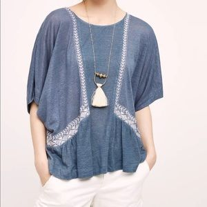 Anthropologie Akemi + Kin Embroidered Peasant Top